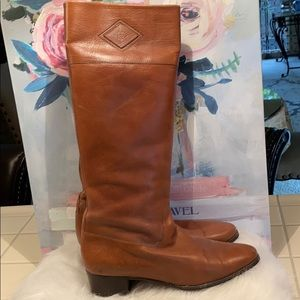 Vintage Gucci Tan Leather Riding Boots 38.5